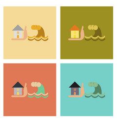 Assembly flat icons nature flood house vector