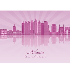 Atlanta v2 skyline in purple radiant orchid vector