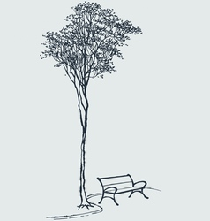 Bench in a park vector