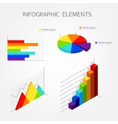 Bright isometric infographics elements vector