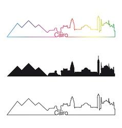 Cairo skyline linear style with rainbow vector