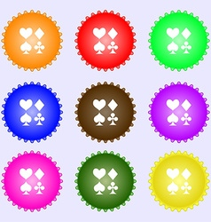 Card suit icon sign big set of colorful diverse vector