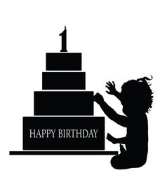 Child silhouette with birthday cake vector