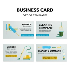 Cleaning company business cards set vector