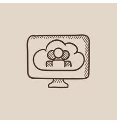 Cloud computing sketch icon vector