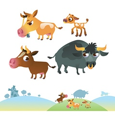 Collection of cow family vector image vector image
