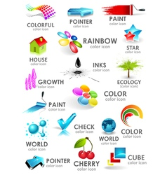 Design 3d color icon set vector image vector image