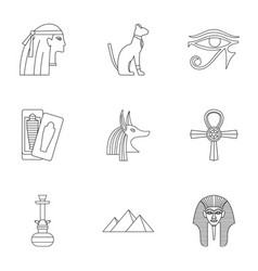 egypt history icons set outline style vector image