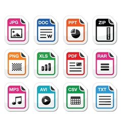 File type icons as labels set - zip pdf jpg doc vector image