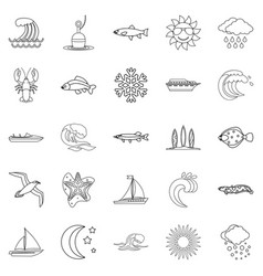 fluid icons set outline style vector image vector image