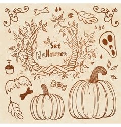 Hallowen hand-drawn set autumn template vector