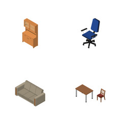 Isometric furniture set of couch cupboard chair vector