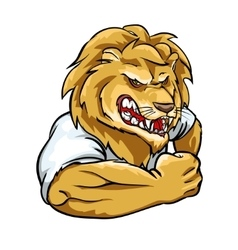 Lion mascot team label design vector image vector image