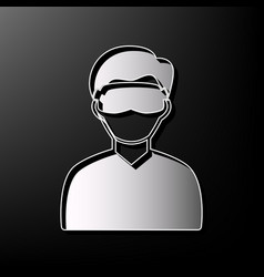 Man with sleeping mask sign gray 3d vector