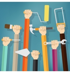 Many hands holds up instruments and tools vector image vector image