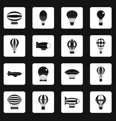 Retro balloons aircraft icons set squares vector