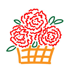 roses in basket sign 2412 vector image