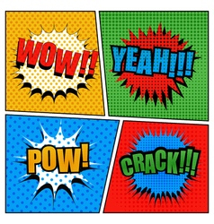 Set of comic bubbles in pop-art style vector
