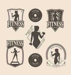 Set of vintage fitness emblem logo icons vector