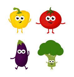 set with cartoon vegetables vector image