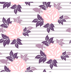 stylized roses flowers on the stropped background vector image vector image