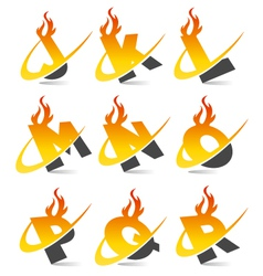 Swoosh flame alphabet logo set 2 vector