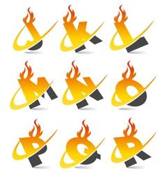 Swoosh Flame Alphabet Logo Set 2 vector image