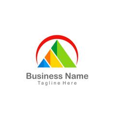 triangle pyramid colorful company business logo vector image