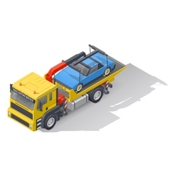 Vehicle tow truck transporting on board a broken vector image vector image