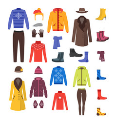 winter clothing woman and man set vector image vector image