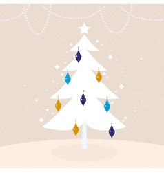 Winter retro tree with Christmas decoration vector image vector image