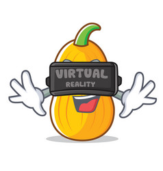 With virtual reality butternut squash mascot vector