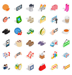 woman buying icons set isometric style vector image