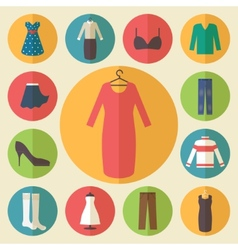 Woman clothing icons set vector image
