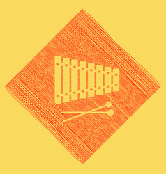 Xylophone sign red scribble icon obtained vector