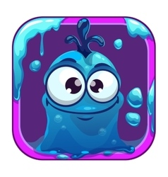 App icon with funny blue slimy monster vector image