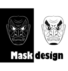 Fear monochrome samurai mask vector