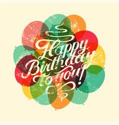 Happy birthday to you retro grunge birthday card vector