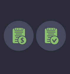 Payroll and bill icons in flat style vector