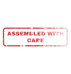Assembled with care rubber stamp vector
