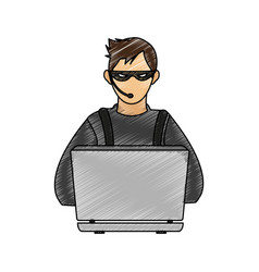 Color pencil image cartoon hacker sitting at the vector