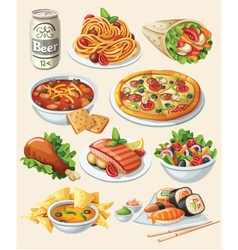 Set of traditional food icons vector image