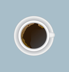 Cup of hot coffee on a saucer top view vector