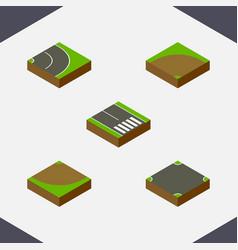 Isometric way set of asphalt crossroad vector