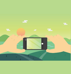 Flat lay mobile landscape photo hands with phone vector