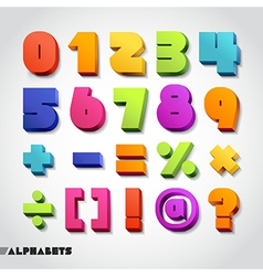 3D alphabet number colorful vector image
