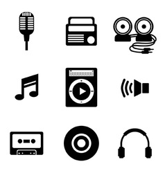 Black music icons vector