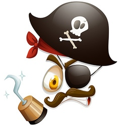 Facial expression with pirate hat vector