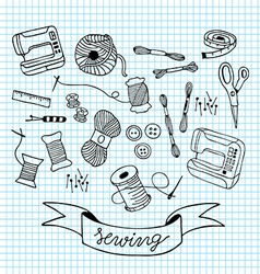 Sewing doodle with blue grid background vector