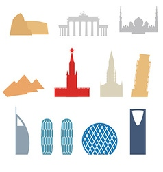 Set of flat buildings icons countries attraction vector